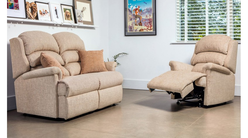 The waterfall back Albany design now available from Sherborne Upholstery as a 2 Seater Sofa, Chair and Recliner